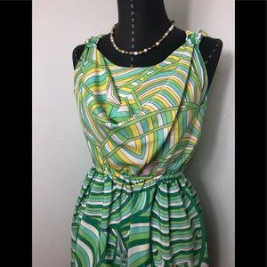 DKNY Paisley Cowl Neck Dress